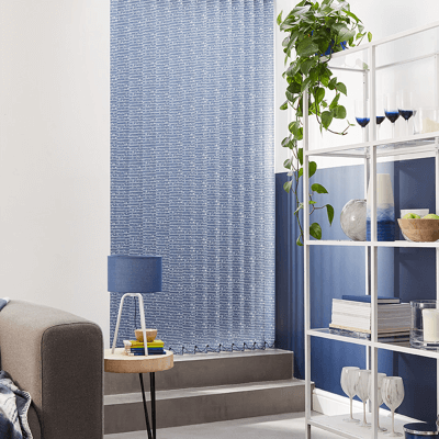 a blue wave vertical blind fabric