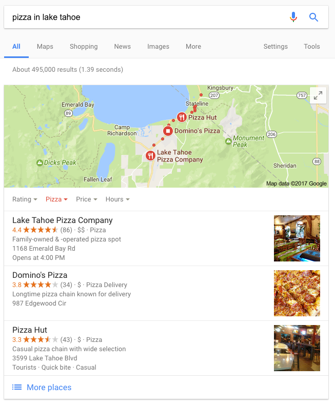 "Google Listing Results for ""pizza in lake tahoe"" search"
