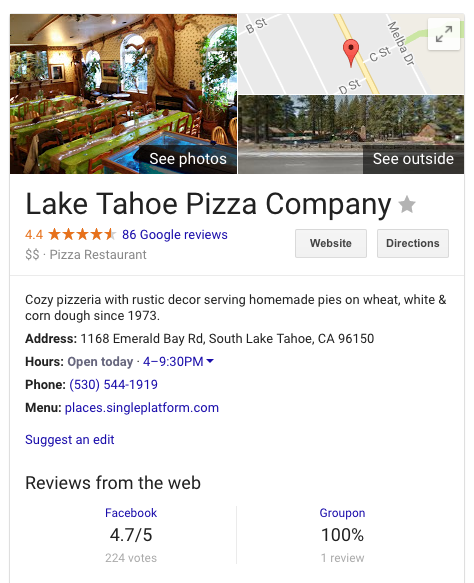 Lake Tahoe Pizza Company Google Business Listing