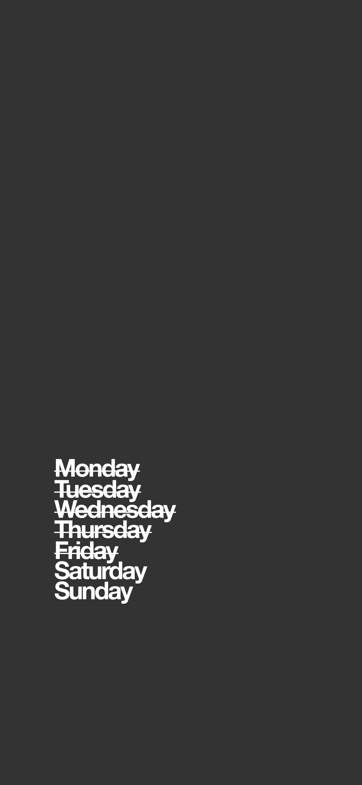 Days of the week Left Align