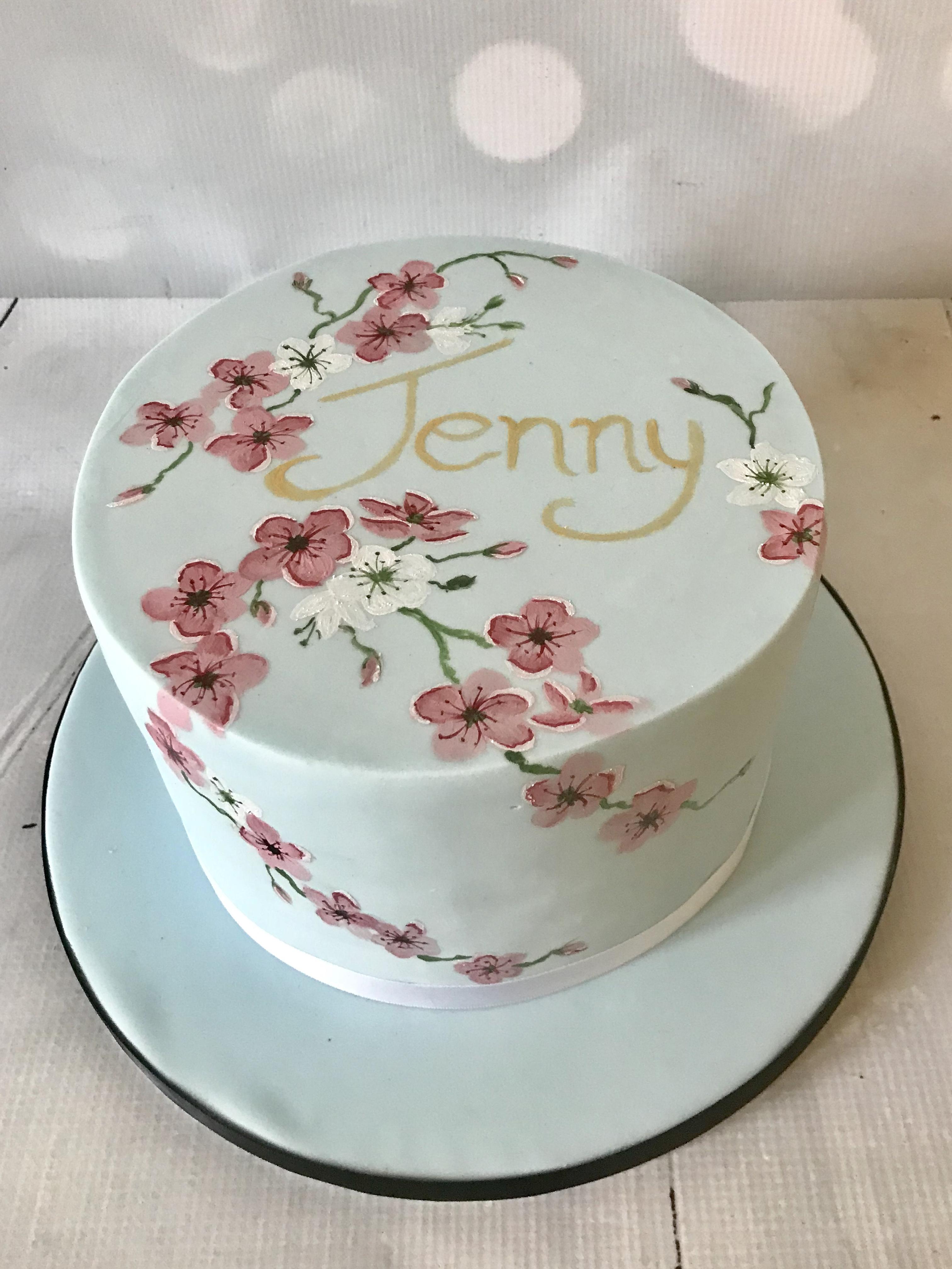 Groovy Cherry Blossom Birthday Cake Birthday Cards Printable Giouspongecafe Filternl