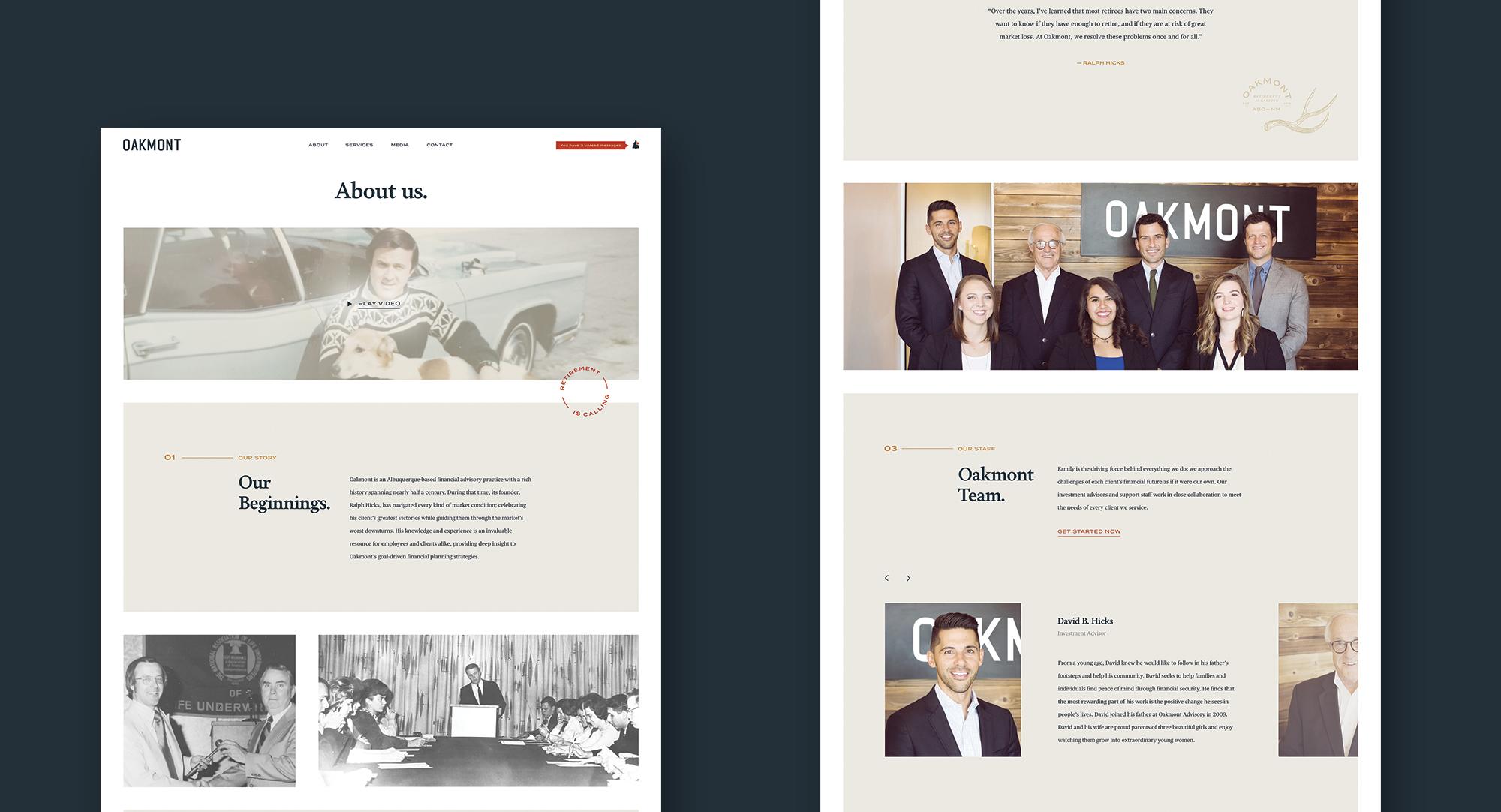 About page, desktop