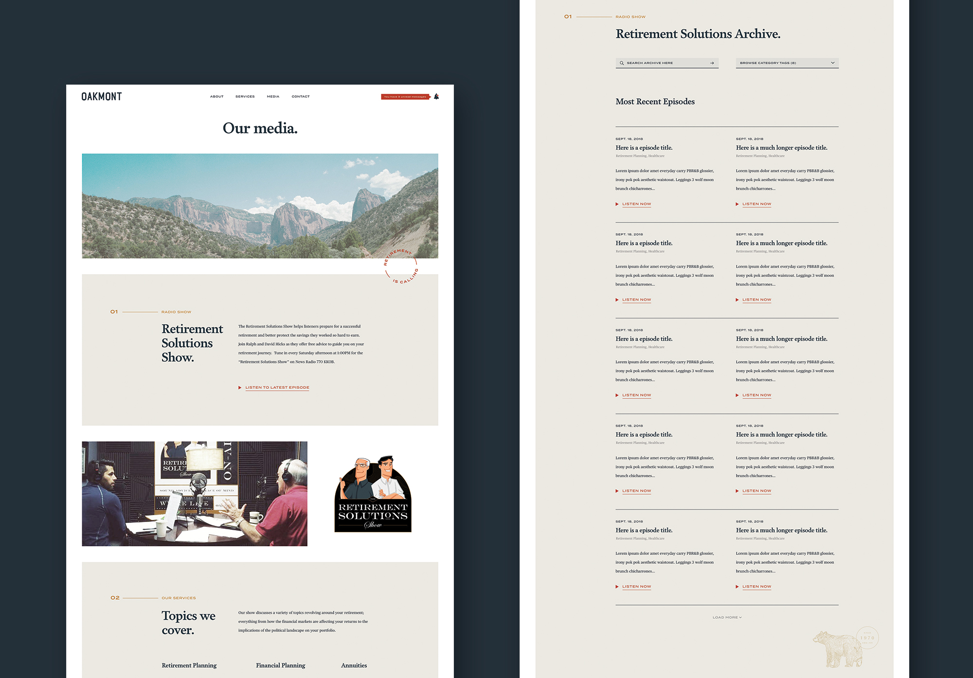 Media page, desktop