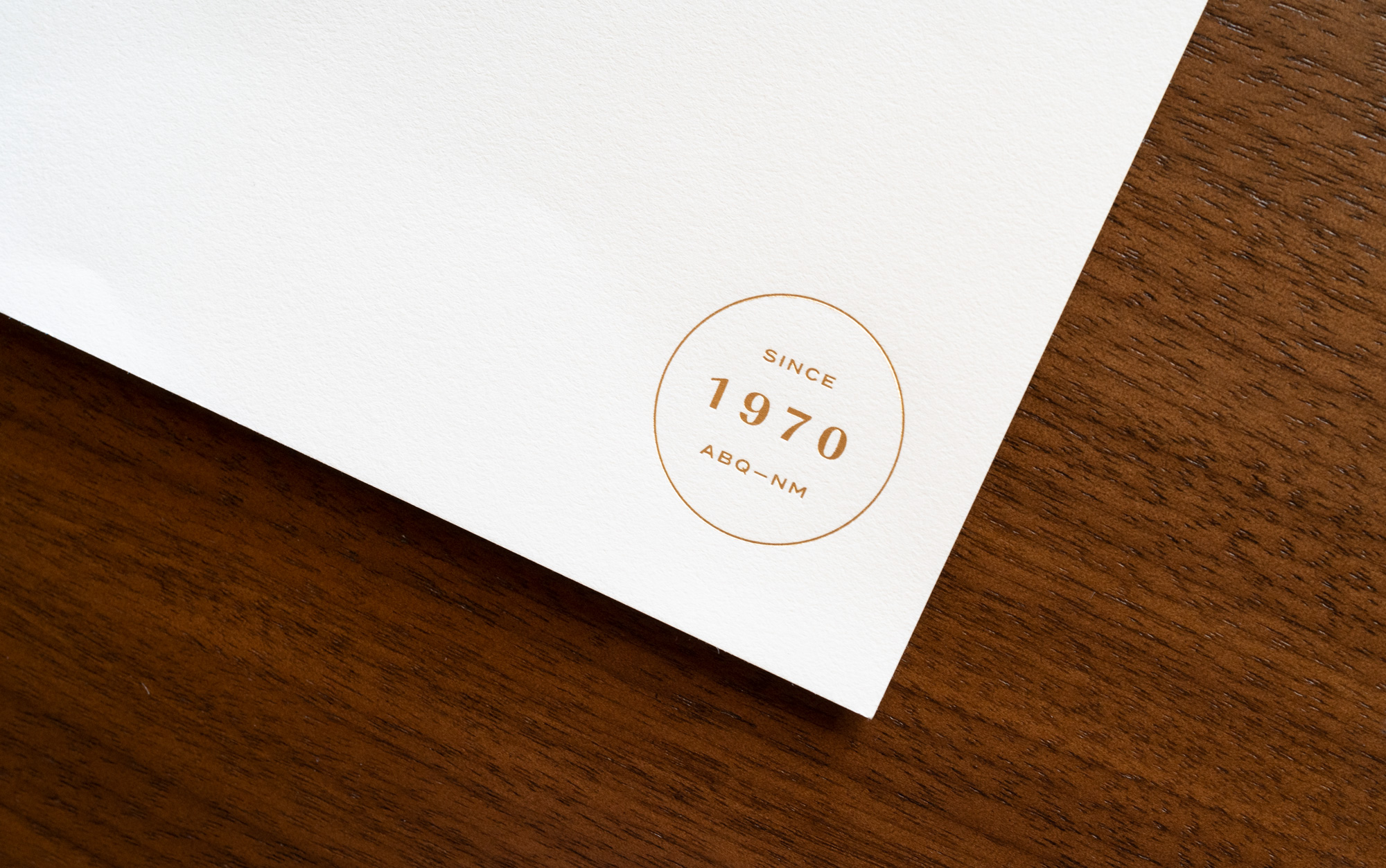 Letterhead gold stamp close up