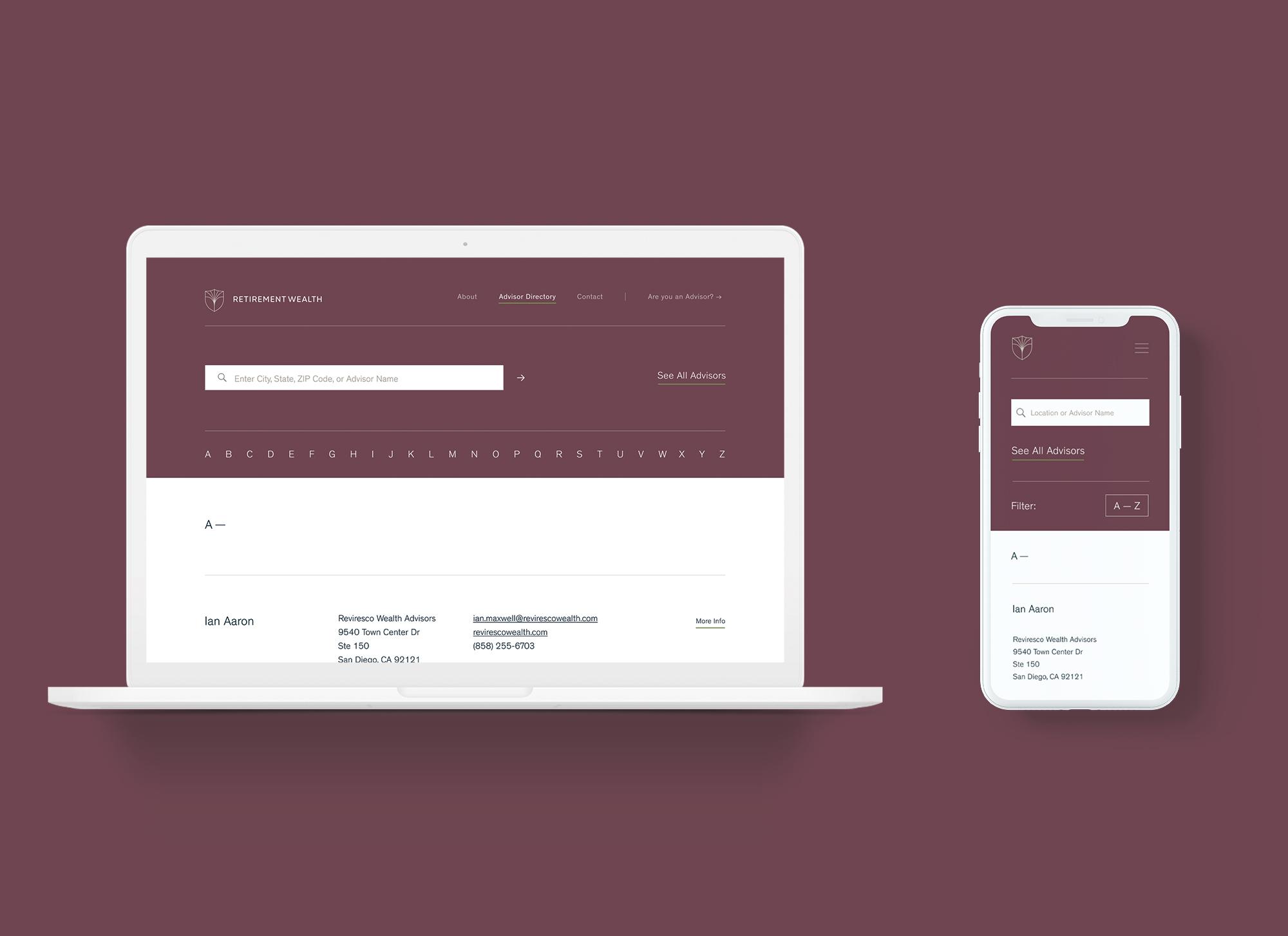 Advisor Directory sorted alphabetically, desktop and mobile