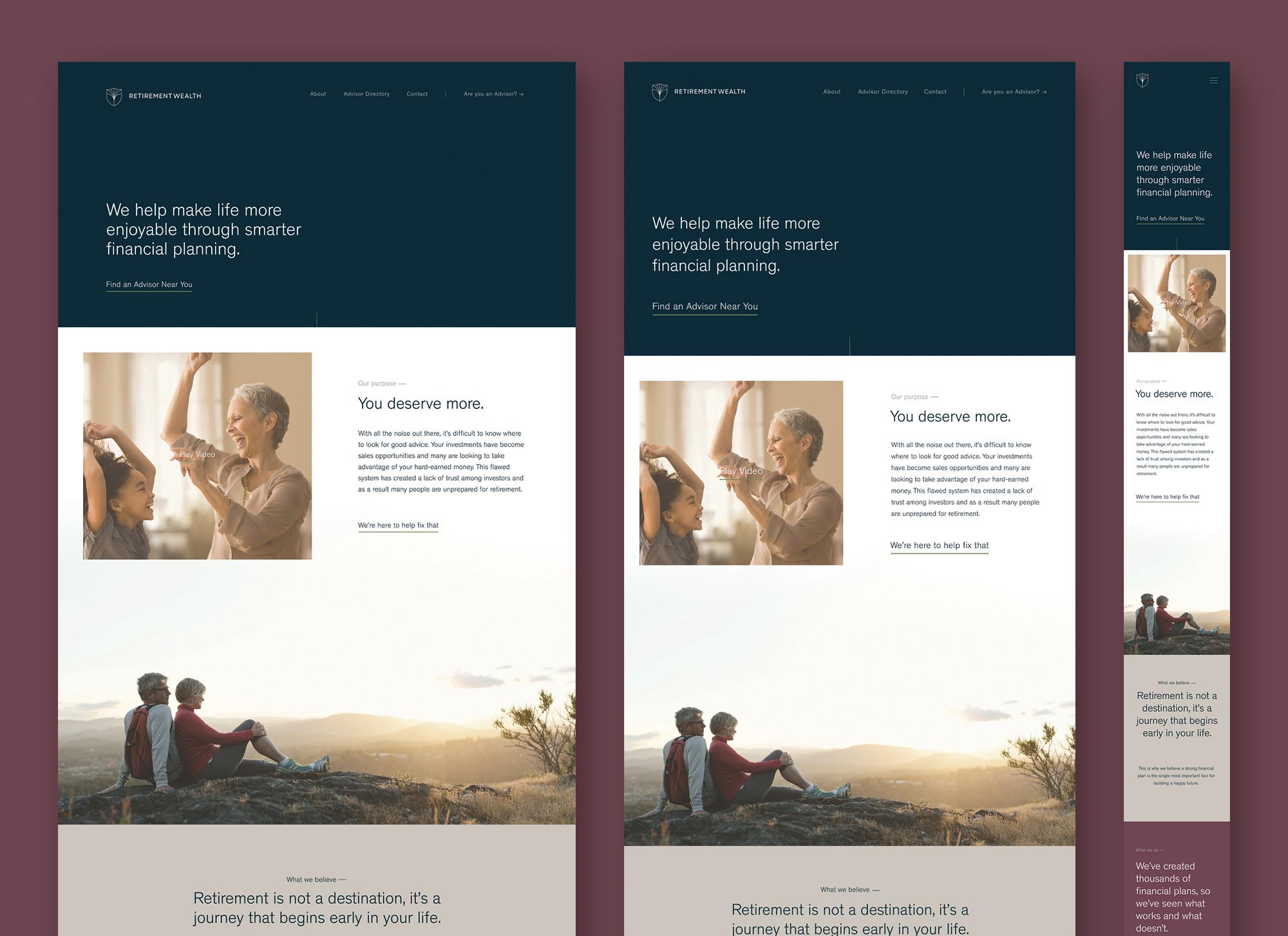 Homepage prototype: desktop, tablet, mobile