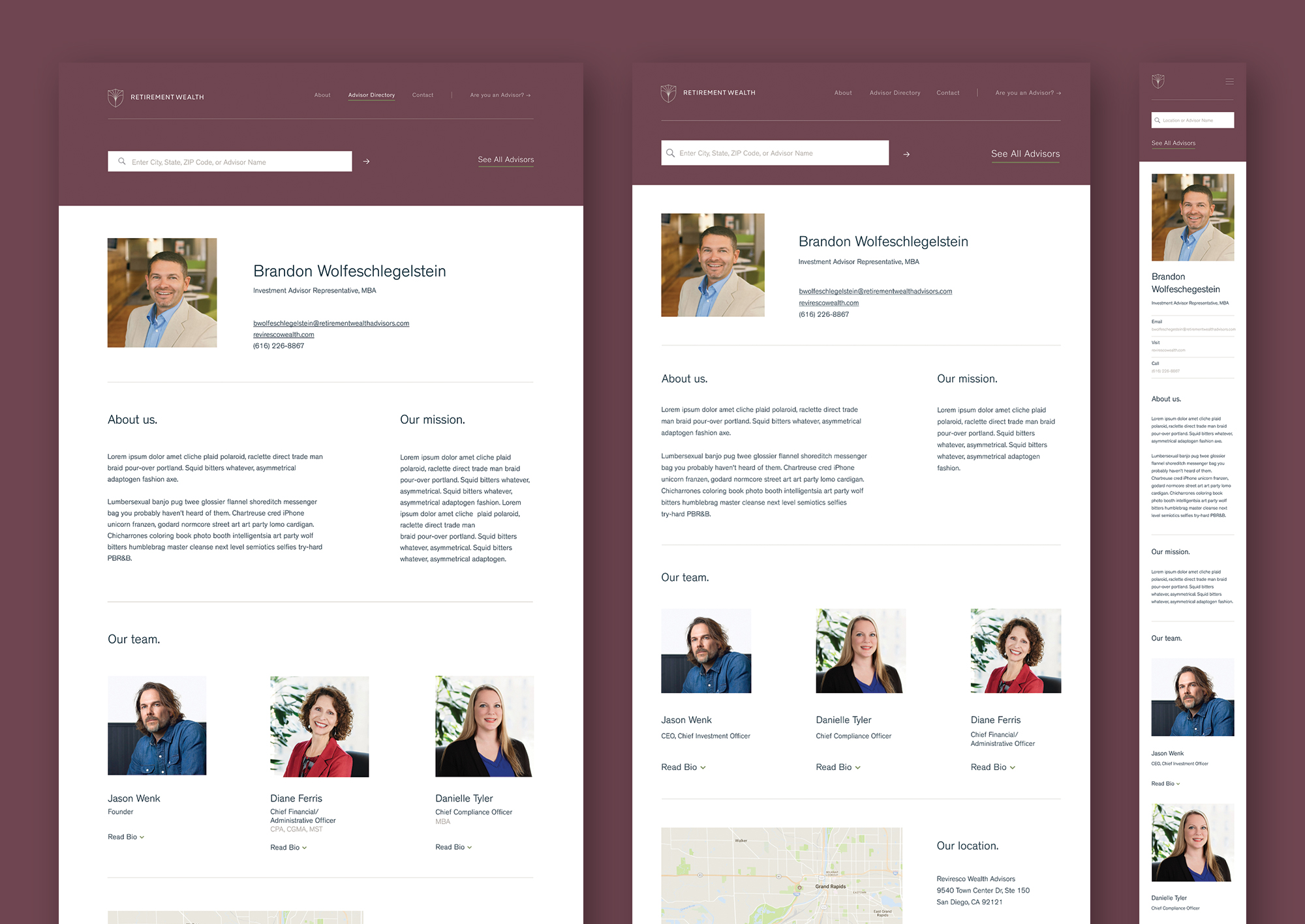 Individual advisor page: desktop, tablet, mobile