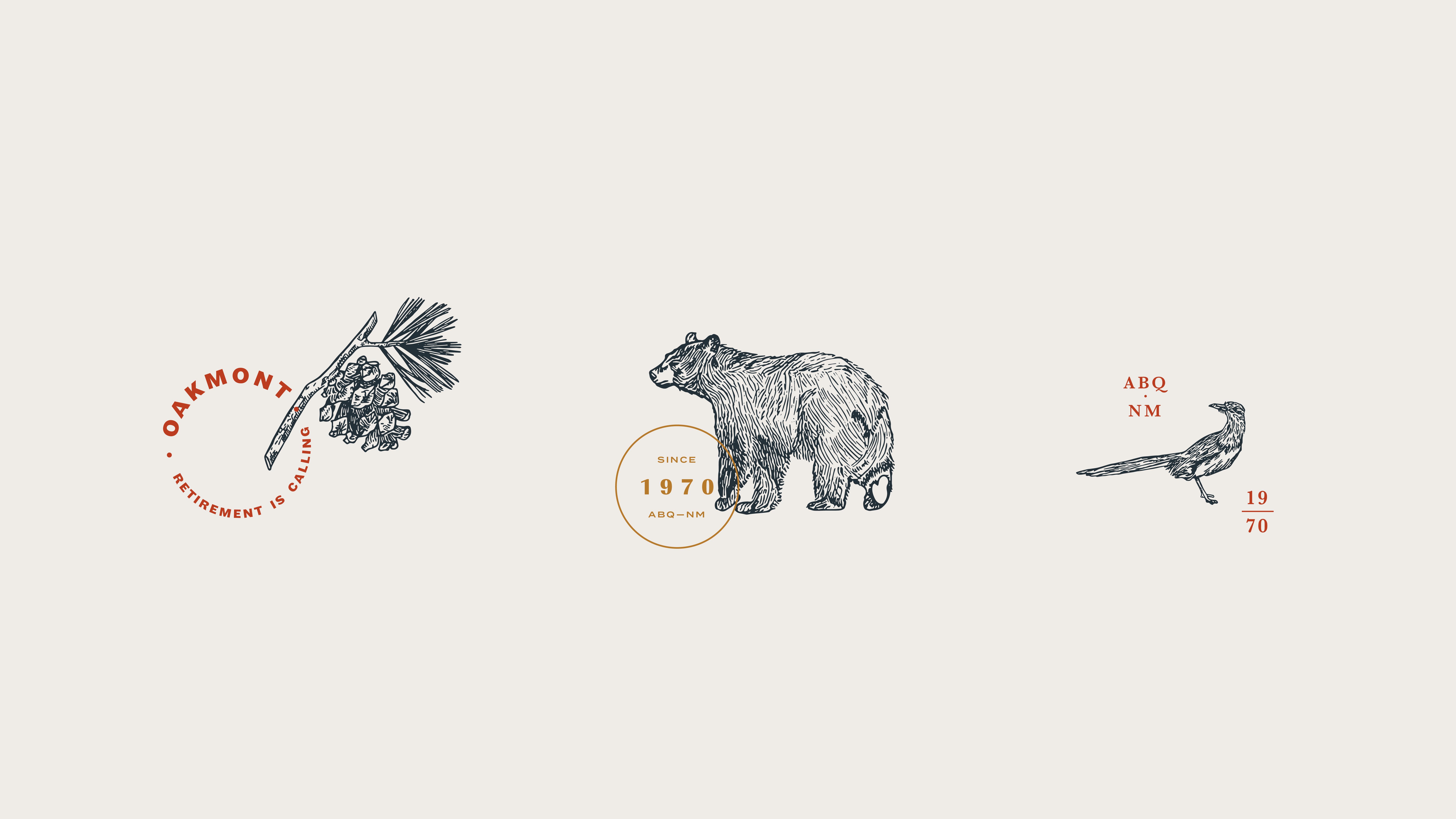 Oakmont illustrations and stamps: pinyon pine tree branch, black bear, roadrunner