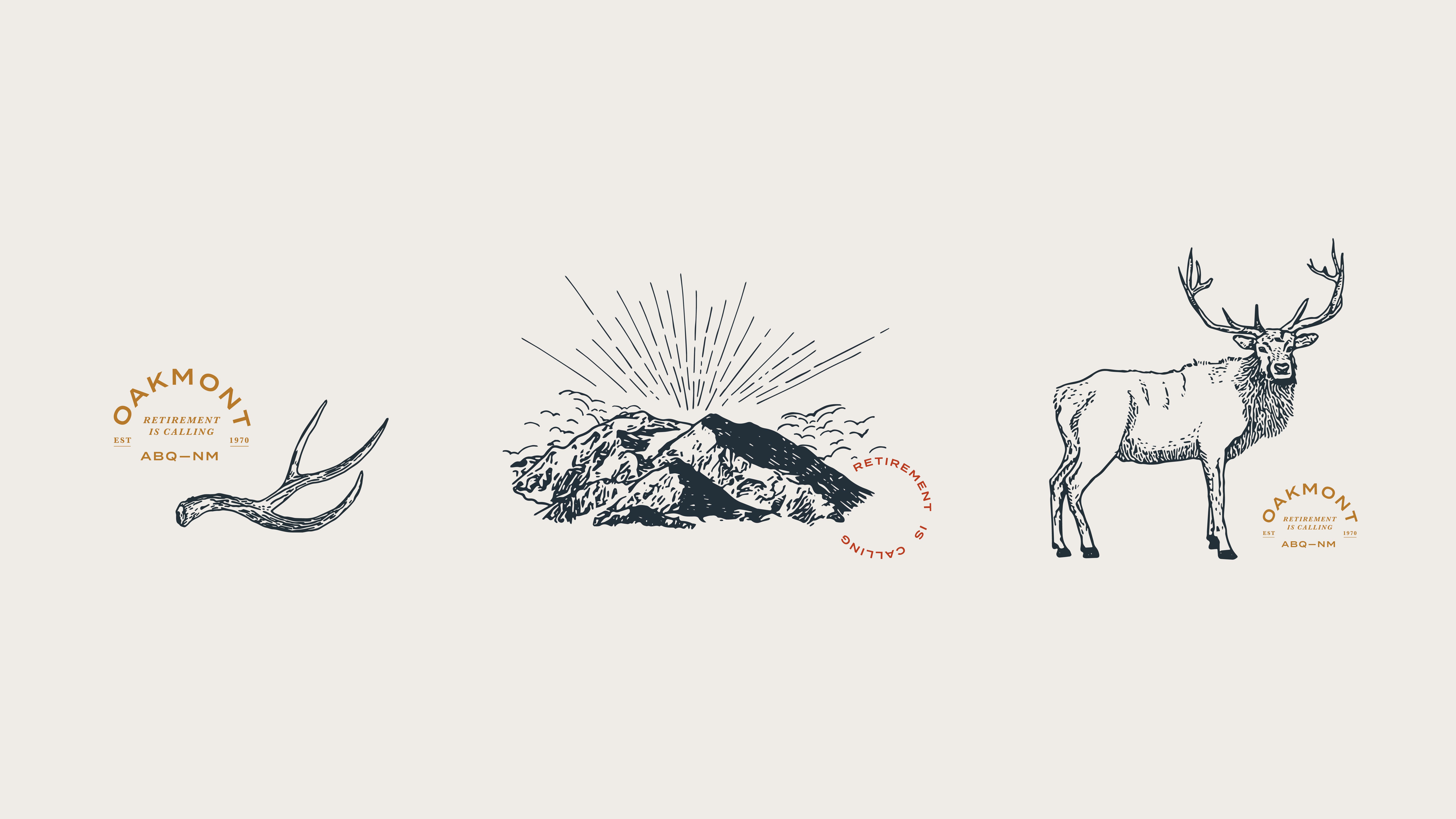 Oakmont illustrations and stamps: elk antler, mountain, and elk