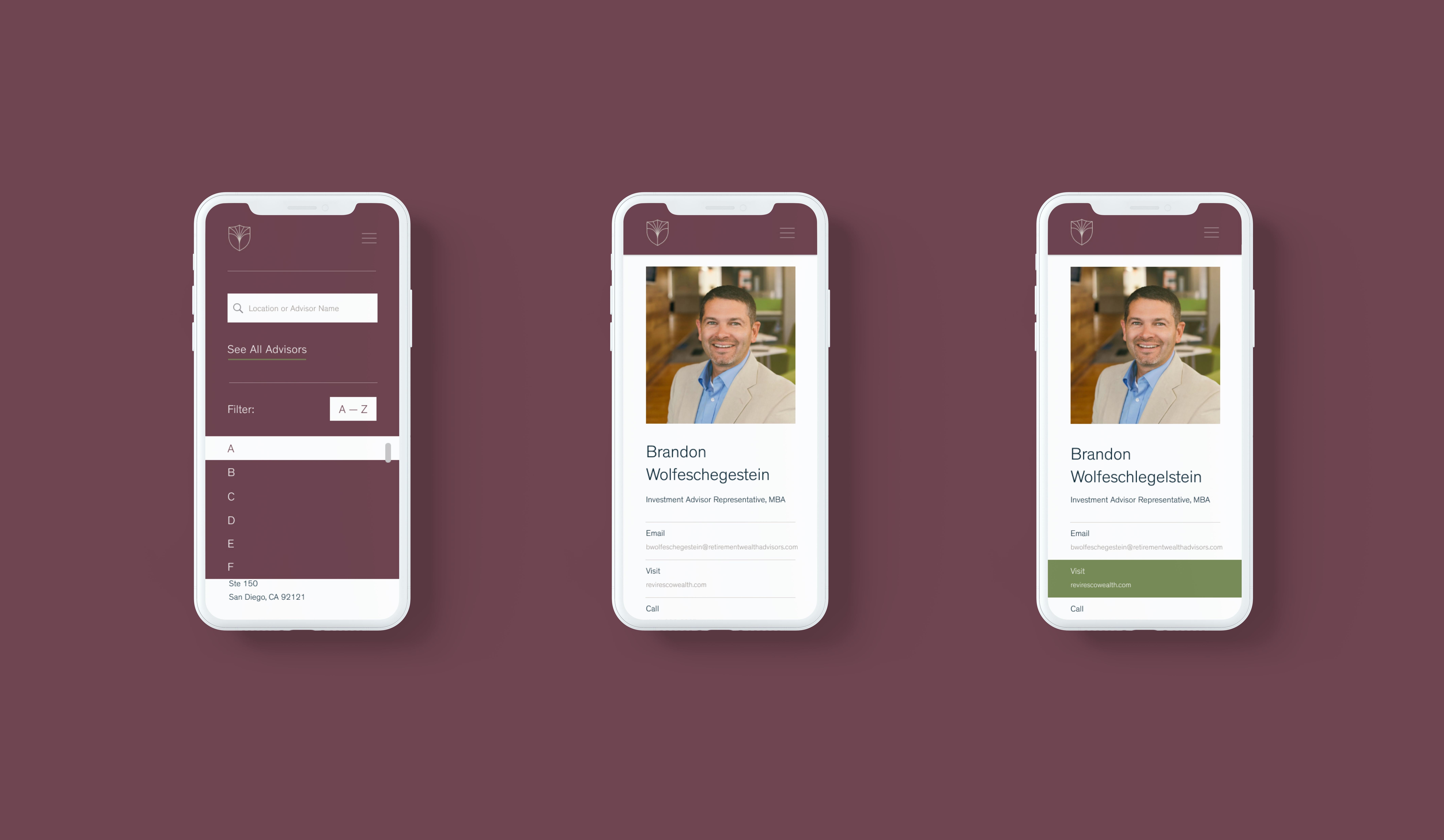 Advisor Directory, mobile interaction showcase