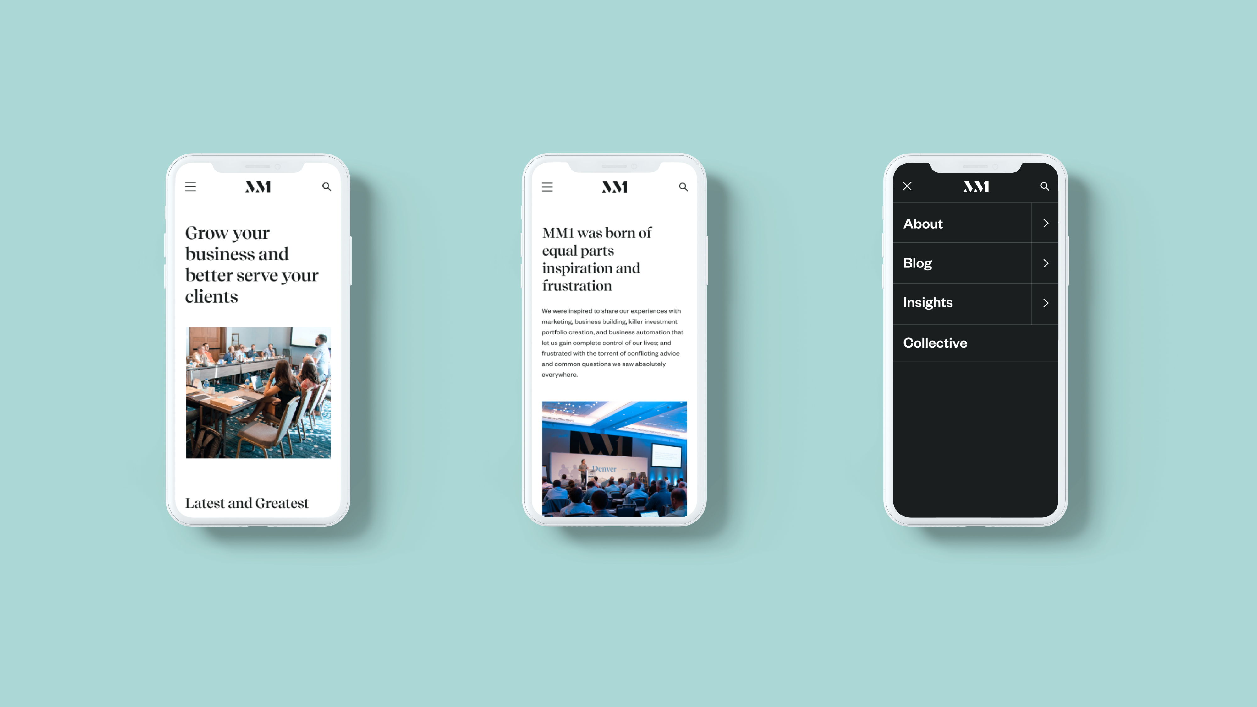 Homepage (mobile), About page (mobile), and Navigation (mobile)