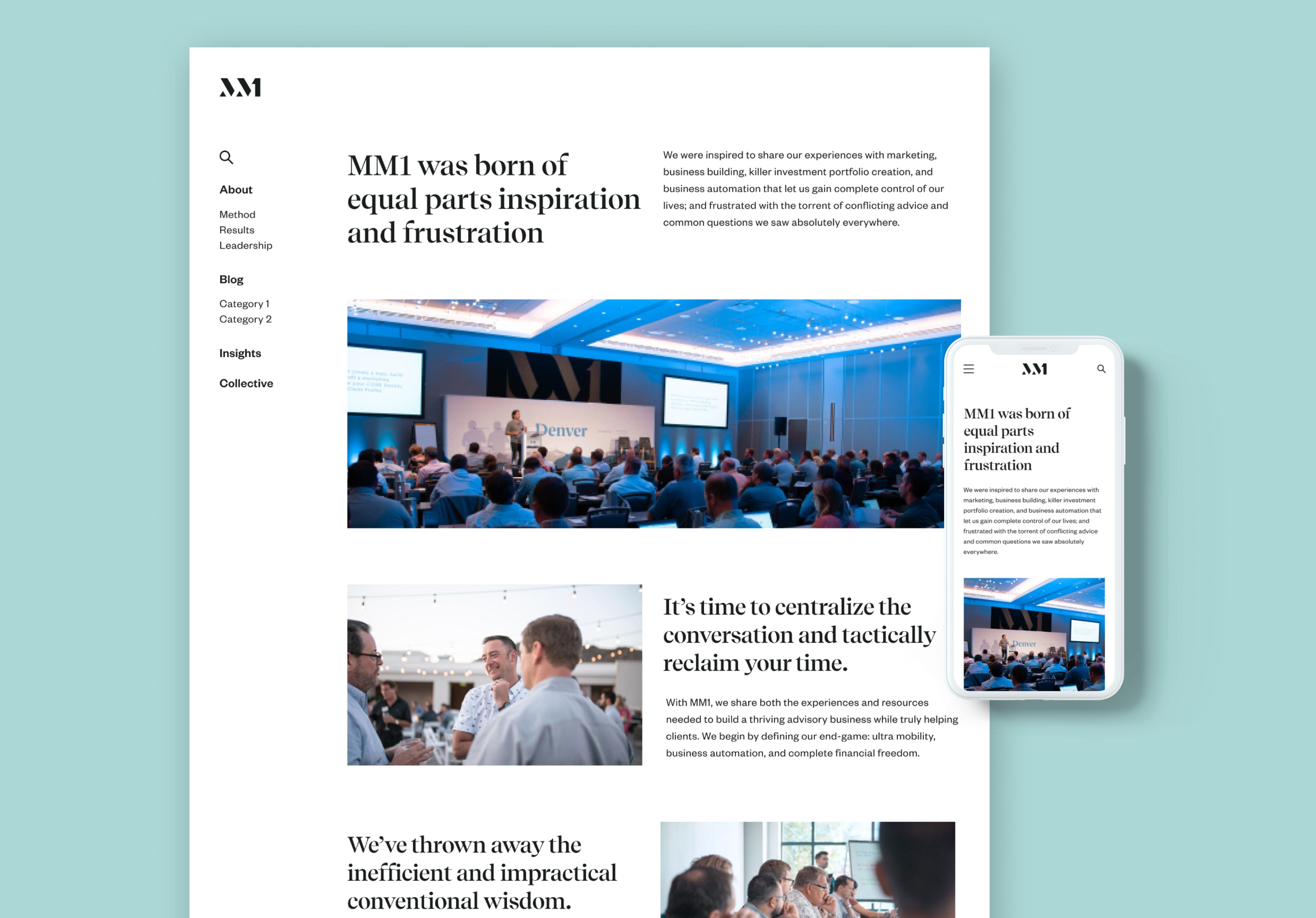 MM1 Homepage, desktop and mobile