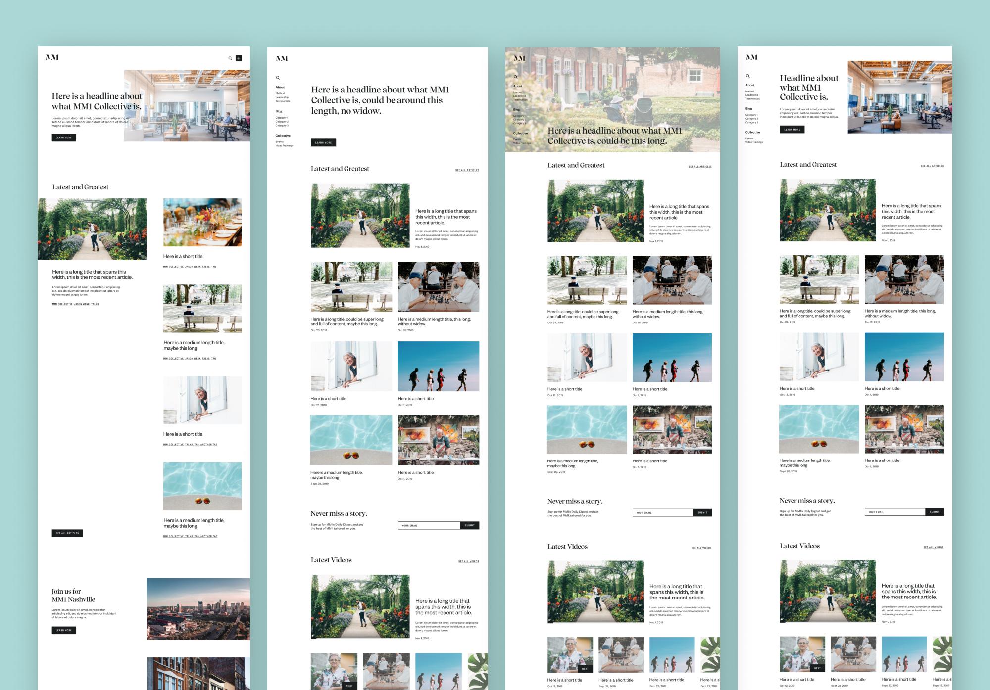 Homepage exploration prototypes