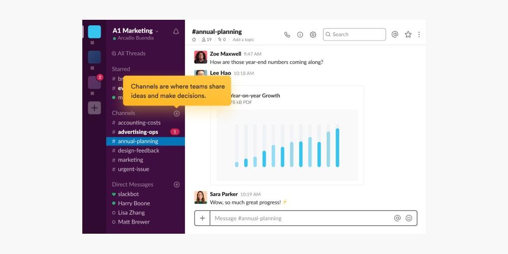 Screenshot of the slack messaging app interface