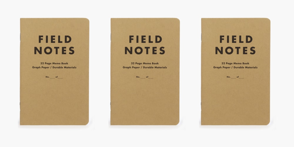 3 field note books on a white background