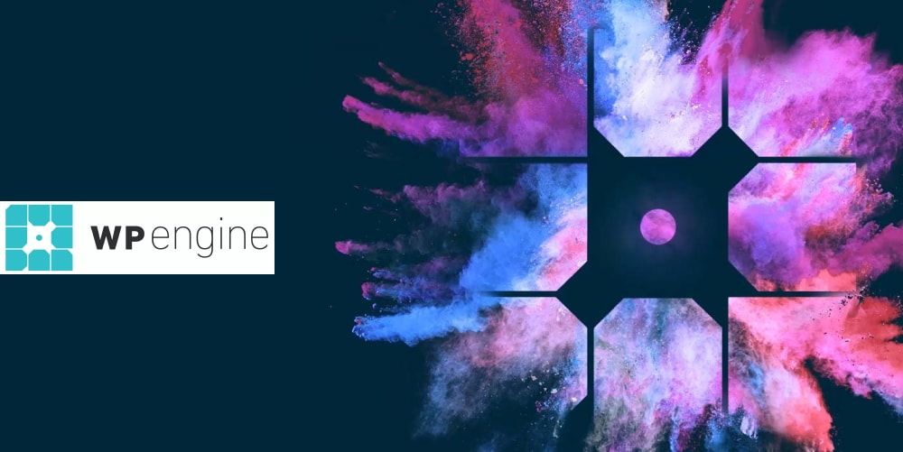 Colorful banner for the web hosting service wpengine
