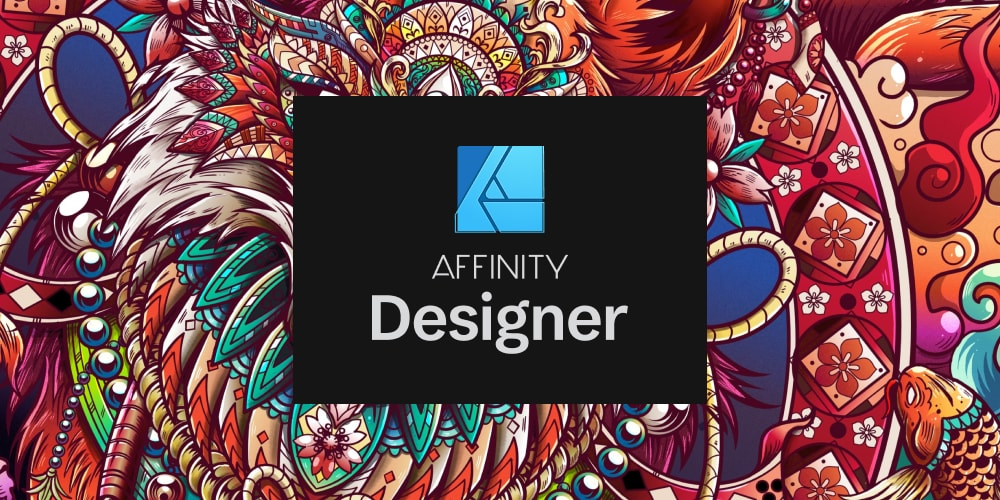 Colorful banner showing the affinity designer logo in the middle