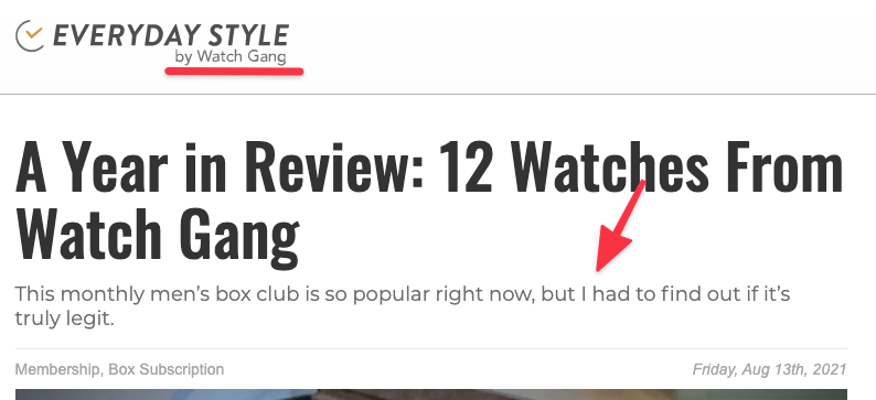 article heading showing fake review