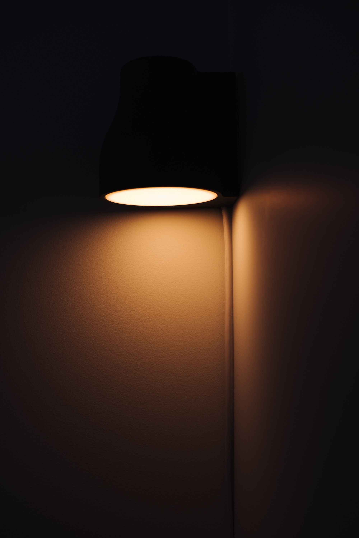 Dark room with light on