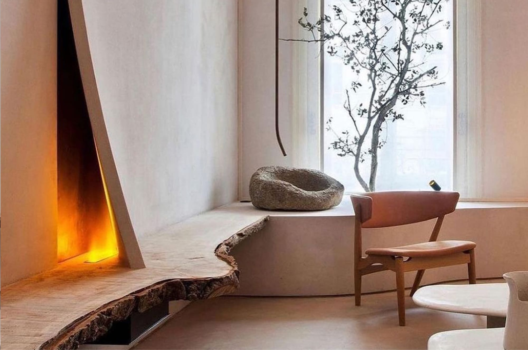 A minimal fireplace inspired by nature