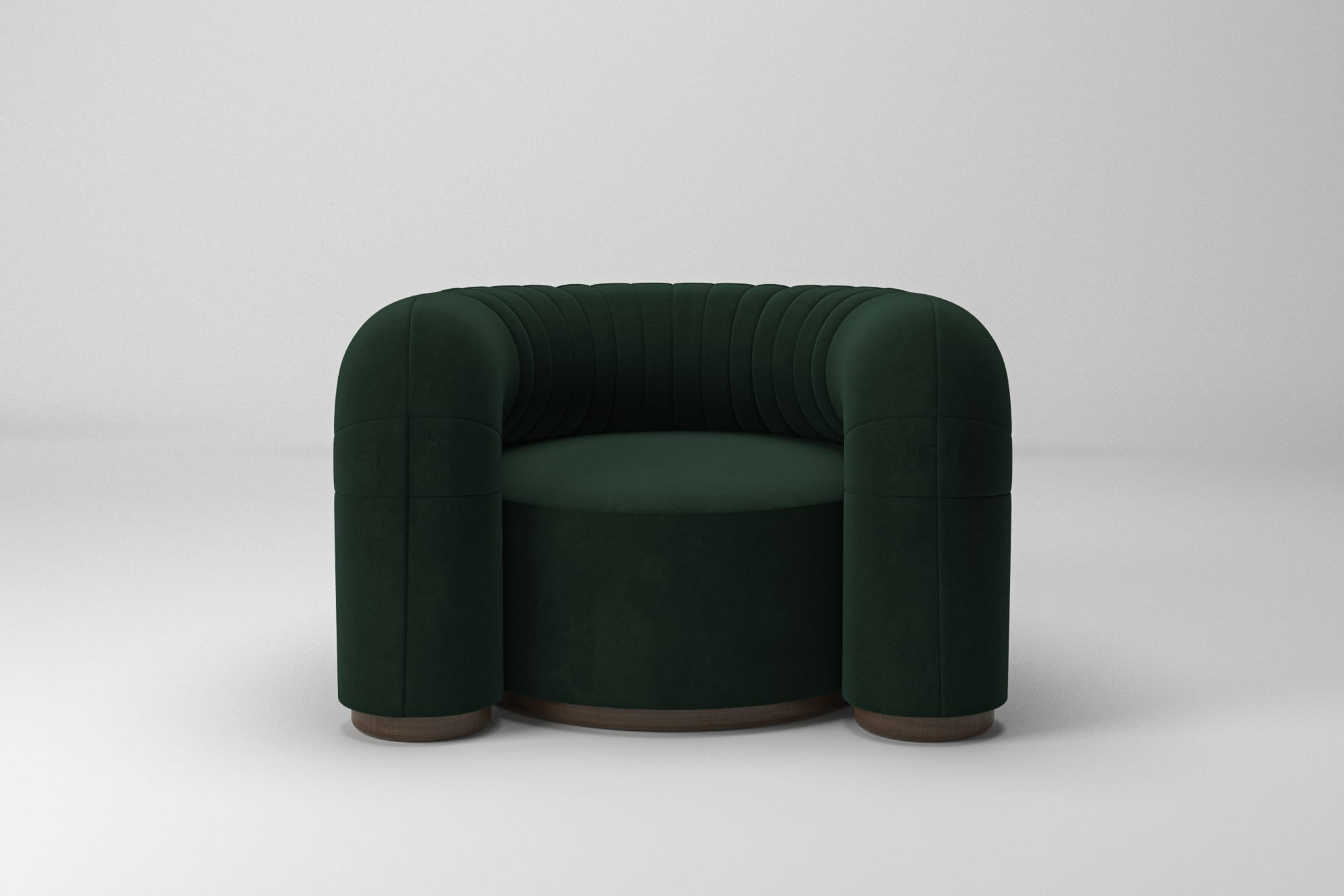 soft round armchair in green