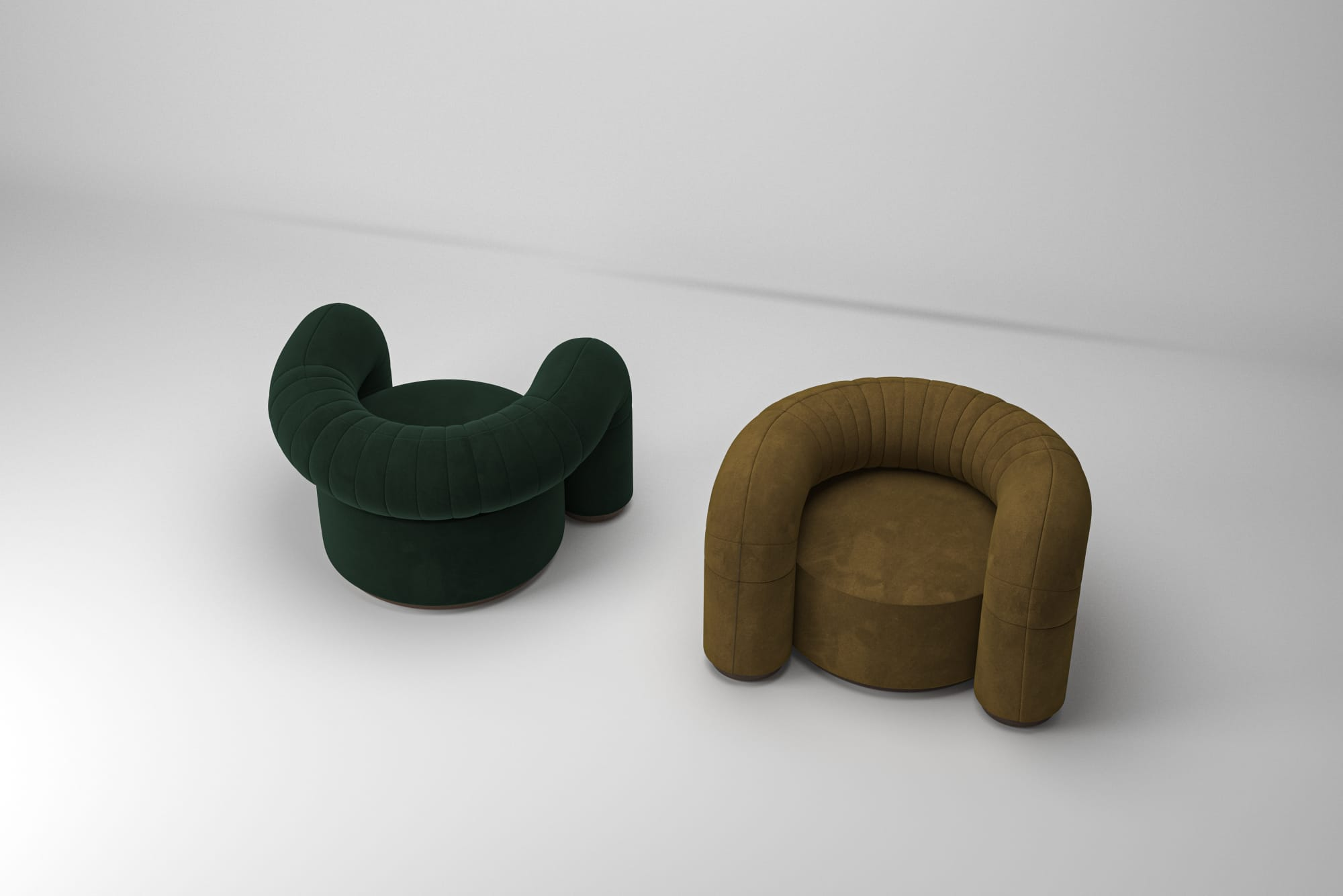 2 soft round armchair in green and dark yellow