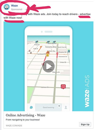 Waze Advertises On Facebook