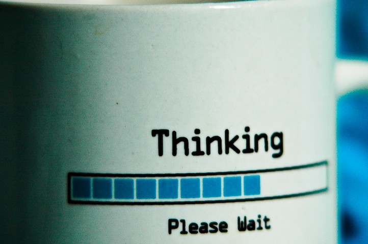 mug with word of thinking is loading