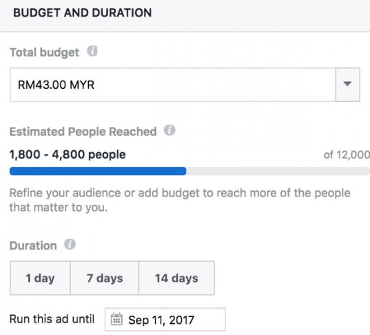 fb boost post budget control