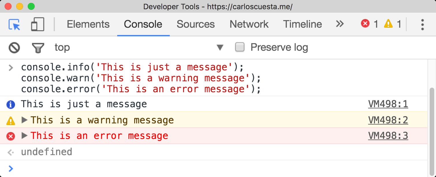console message inside google chrome