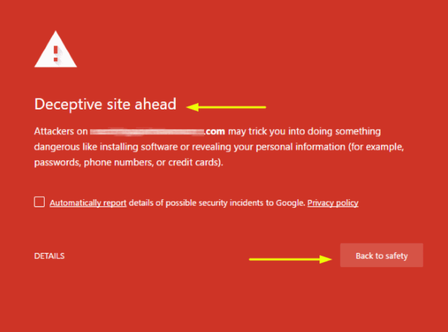 a picture of deceptive site warning