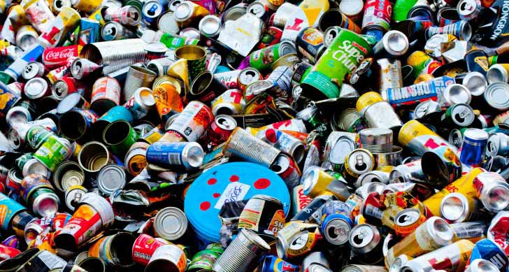 mountain trash of cans
