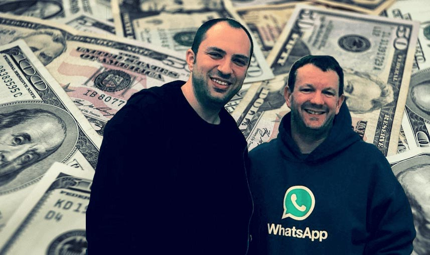 whatsapp cofounder smiling with money in the background