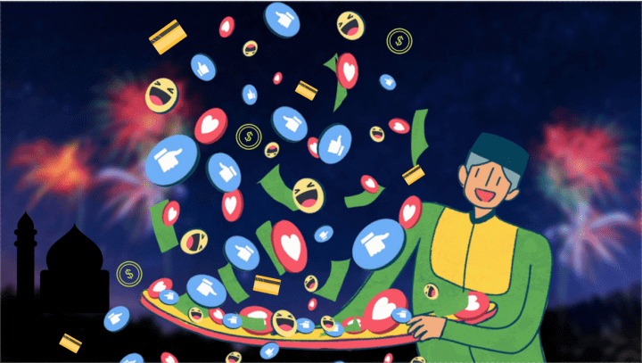 Illustration of a boy throwing money, credit cards, facebook like icons with a mosque and fireworks in the background