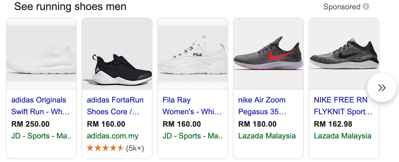 screenshot of shoes as sponsored products in google results