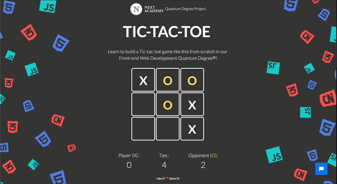 Tic Tac Toe game, one of the projects that every student must build during their Web Development bootcamp