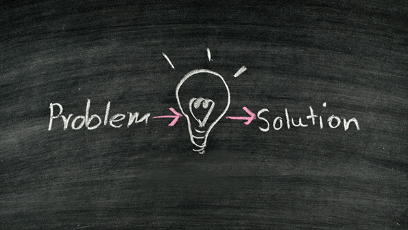 Drawing of problem to solution on a chalkboard