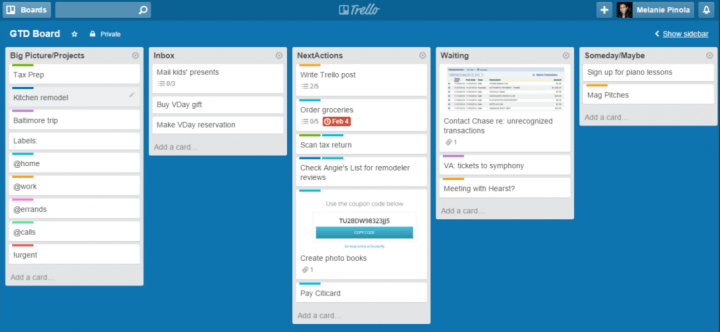 Interface of Trello, a to-do list app for indivuiduals or teams