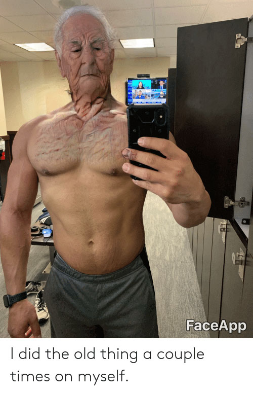 A man using Faceapp filter to see how he would look like when he is old