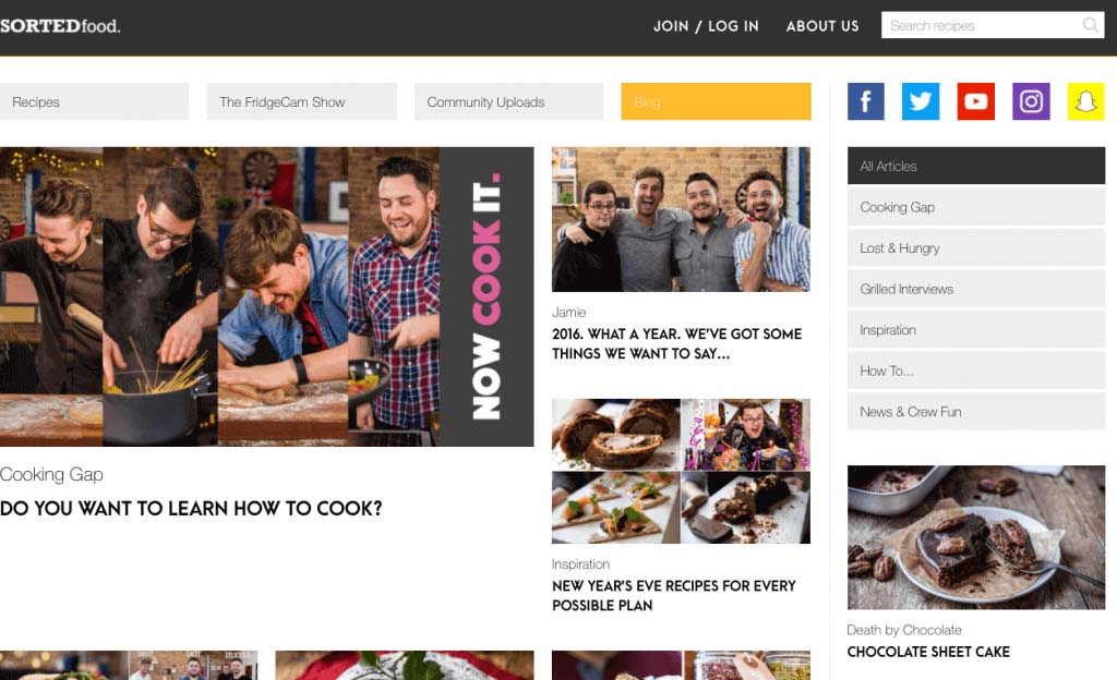 Homepage of Sortedfood blog, where it blogs about food and cooking related stuffs