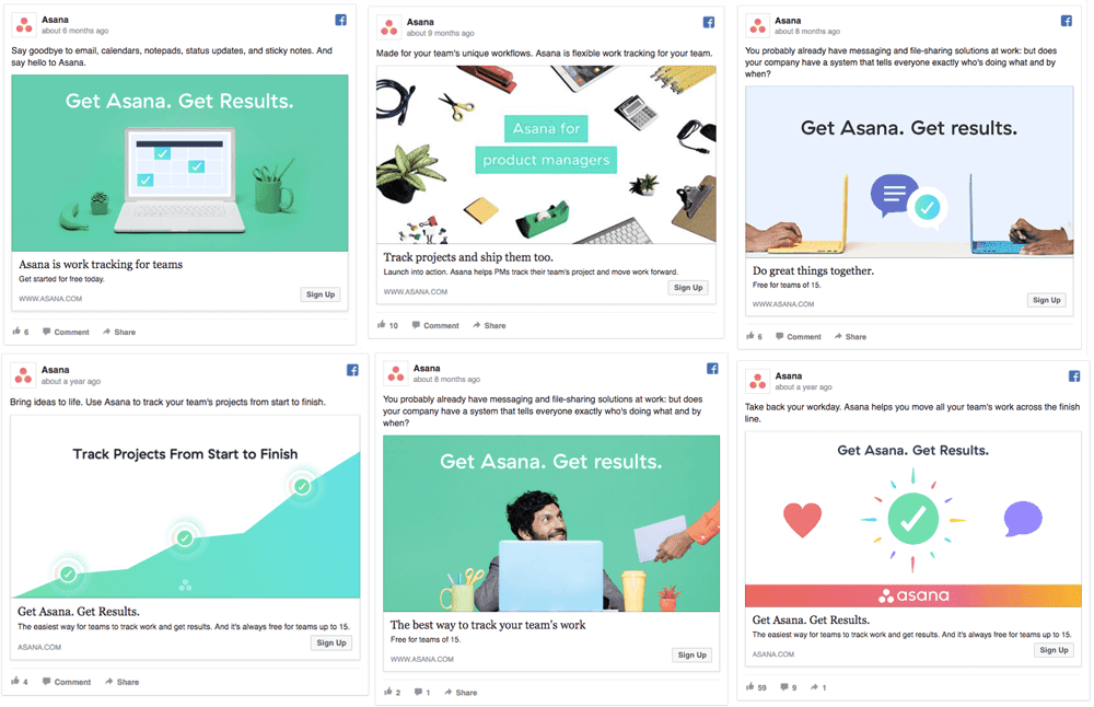 examples of similar but different facebook ads