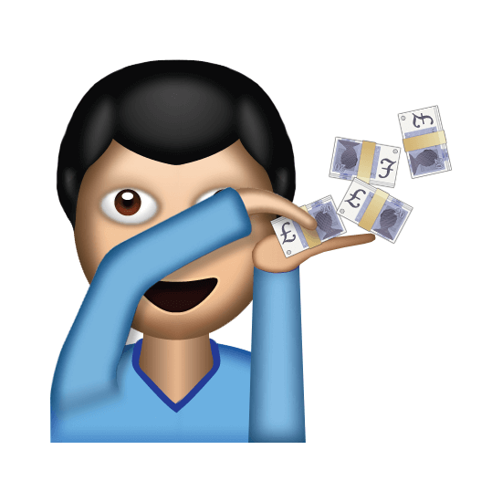 emoji of a man wasting money