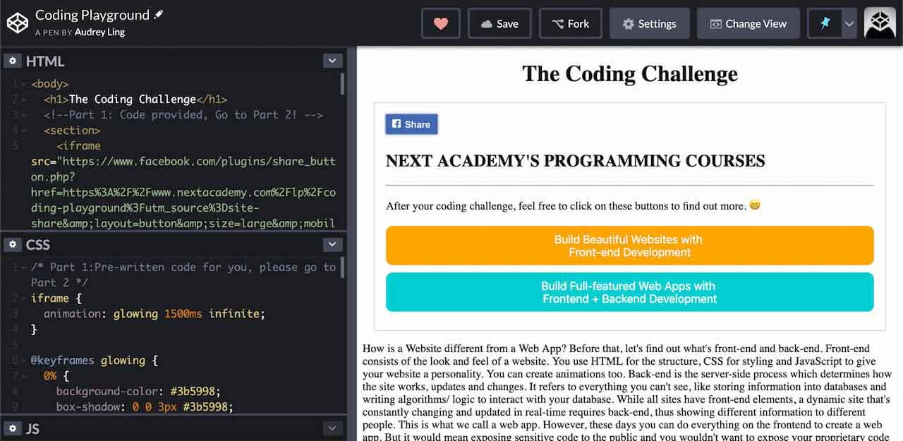 the coding challenge with codepen by next academy