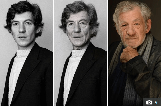Photo of Ian McKellen when he was young and used Faceapp filter compared to when he is older now