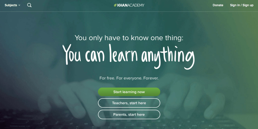 Screenshot of Khan Academy's homepage