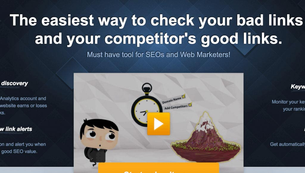 Homepage of MonitorBacklinks.com