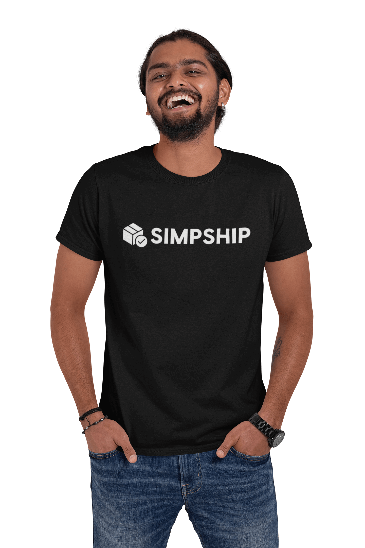 Smiling guy with simpship tshirt