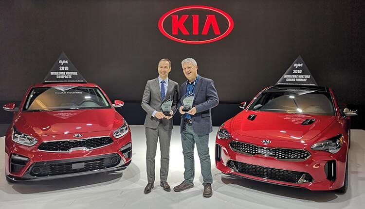 La Kia Forte lauréate du prix de la meilleure petite voiture au Canada et la Kia Stinger lauréate du prix de la meilleure grande voiture au Canada pour 2019 selon l'Association des Journalistes Automobile du Canada (AJAC)
