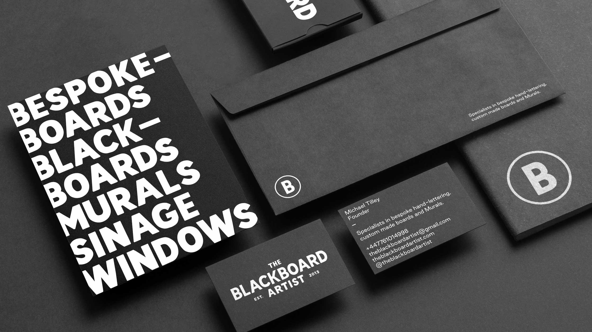 The Blackboard Artist stationery design