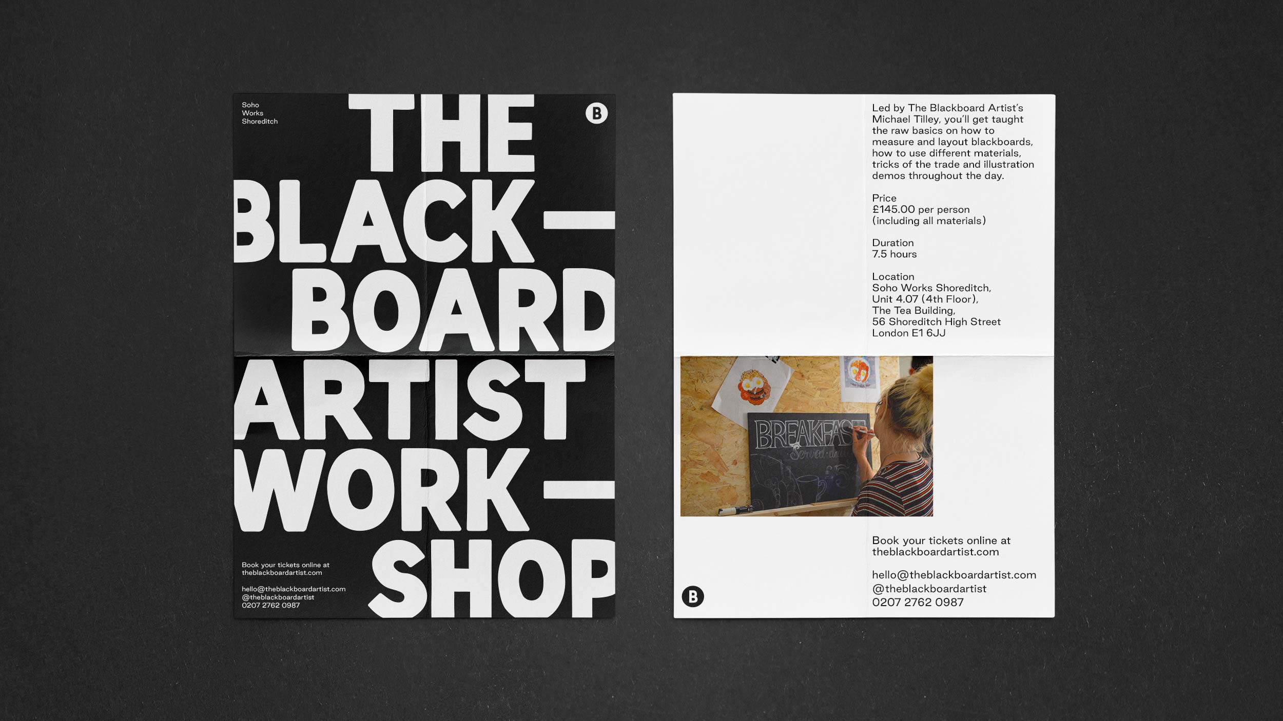 The Blackboard Artist workshop flyer design